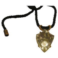 Vintage Signed Valentino Abstract Crystal Heart Pendant Necklace on Black Cord