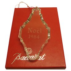 Vintage 1984 Signed Baccarat Crystal Christmas Ornament in Original Box