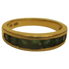 Vintage Signed BH Emerald 14 K Yellow Gold Wedding Ring Band Sz 6.75