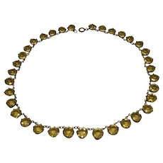 Antique Edwardian Sterling Silver French Paste Pale Yellow Open Riviere Choker Necklace