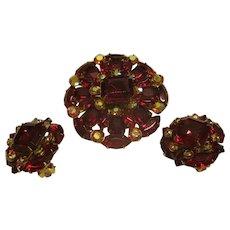 Vintage Signed Beau Jewels Ruby Red Rhinestone Broach Pin Clip Earrings Set