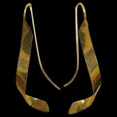 Vintage 14 Karat Yellow Gold Abstract Dangle Pierced Earrings