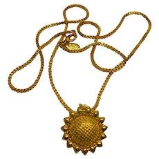 Vintage Signed Nolan Miller Gold Tome Sunflower Pendant Necklace