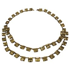 Art Deco 2 Strand Radiant Cut Clear French Paste Open Back Riviere Necklace