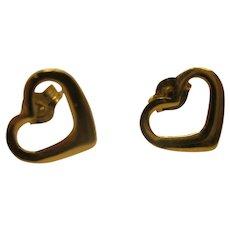 Vintage 14 Karat Yellow Gold Open Heart Pierced Earrings