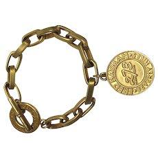 Vintage Signed Fred Hayman Gold Tone Link Bracelet