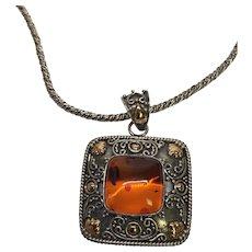 Vintage BA Suarti Sterling Silver 18K Gold Amber Pendant Necklace