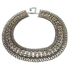 Vintage Rhinestone Silver Tone Metal Collar Necklace
