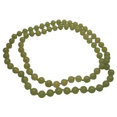 Vintage Moss in Snow Green Jadeite Jade Bead Necklace 30 Inches