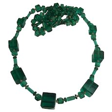 Vintage Art Deco Deep Green Hand Knotted Glass Bead Necklace
