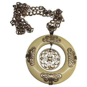 Vintage Signed Crown Trifari Huge Pendant Necklace
