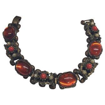 Vintage Signed Selini Jeweled Bronze Color Link Bracelet