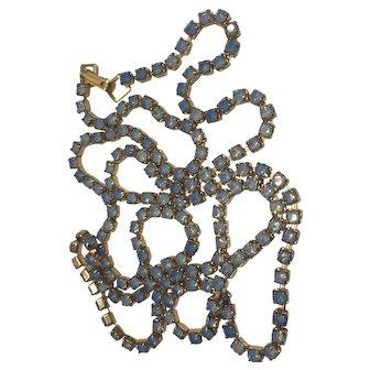 "Vintage Light Blue Rhinestone Gold Tone Chain Necklace 29"" Long"