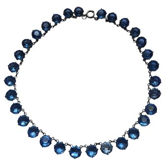 Antique Edwardian Sterling Silver Blue French Paste Open Riviere Choker Necklace