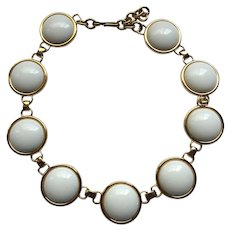 Vintage Signed Monet White Yellow Gold Tone Statement Necklace
