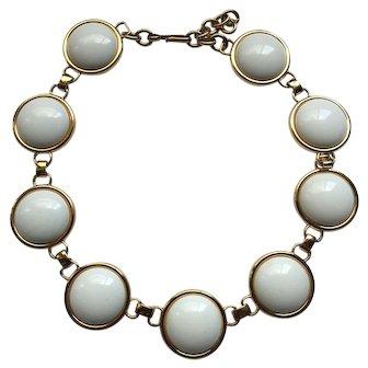 Vintage Signed Monet White Gold Tone Statement Necklace