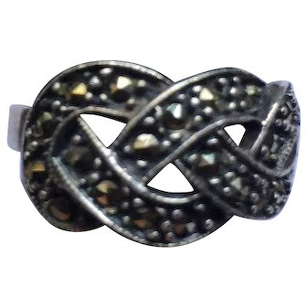 Vintage Sterling Silver Marcasite Love Knot Ring Size 7