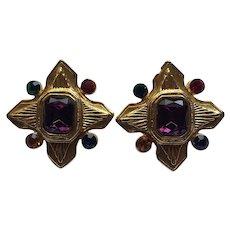 Vintage Unsigned Edouard Rambaud Maltese Cross Design Clip Earrings