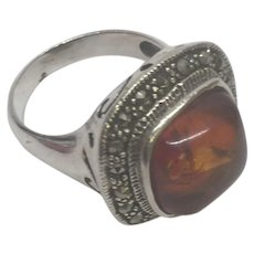 Vintage Amber Cabochon Sterling Silver Marcasite Ring Size  7