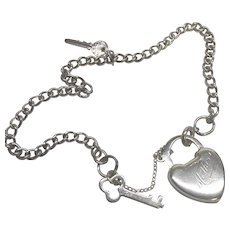 Vintage Sterling Silver Key To My Heart Charm Bracelet