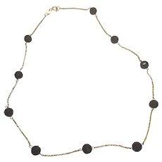 "Vintage Signed RCI 14K Yellow Gold Black Onyx Bead Necklace 14.5 "" Long"