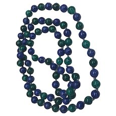 "Vintage Dyed Blue And Green Lapis Hand Knotted Bead Necklace 32"" Long"