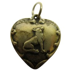 Vintage Sterling Silver Aesop's Fable The Fox and the Grapes Puffy Heart Charm
