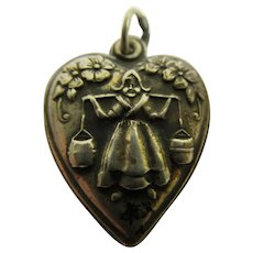 Rare Vintage Milkmaid Carrying Pails Sterling Silver Puffy Heart Charm