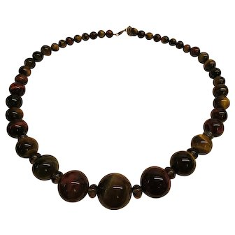 Vintage Large Tiger's Eye Graduated Bead Necklace Signed Barse
