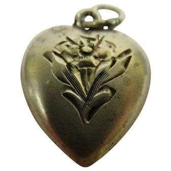 Vintage Sterling Silver Flower Theme Puffy Heart Charm