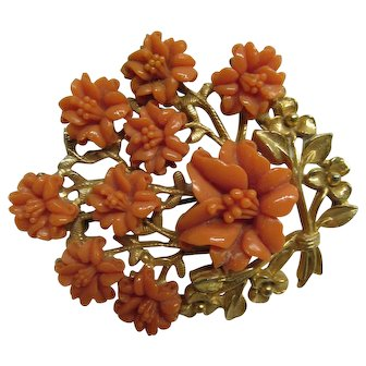 Vintage Large Faux Coral Flower Pin Broach