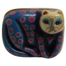 Vintage Sergio Bustamante Sterling Silver Paper Mache Blue Pink Cat Ring SZ 6.5