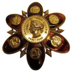 Vintage Coro Queen Victoria Tortoise Color & Gold Coin Broach Pin