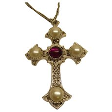 Vintage Signed Sarah Coventry Crusader Cross Necklace Pendant BOOK PIECE