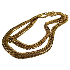 Vintage Signed Napier Heavy Patented Clasp Gold Tone Necklace