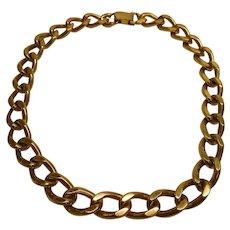 Vintage Signed Napier Heavy Gold Tone Link Necklace