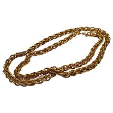 Vintage Signed Monet Heavy Gold Tone Metal Rope Chain Necklace