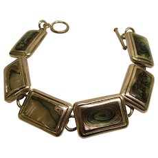 Vintage Heavy Abalone Sterling Silver Link Bracelet 50.1 Grams