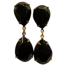 Vintage Signed Miriam Haskell Black Drop Clip Earrings