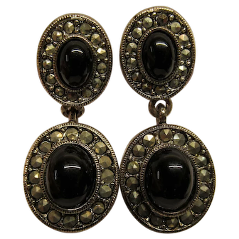 Vintage Signed Monet Marcasite Black Glass Cabochon Dangle Clip Earrings