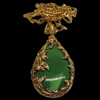 Vintage 1960's Large Modernist Brutalist Style Green Gold Tone Pendant Necklace