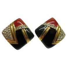 Vintage Signed PANETTA Contemporary Red Black Enamel Rhinestone Clip Earrings