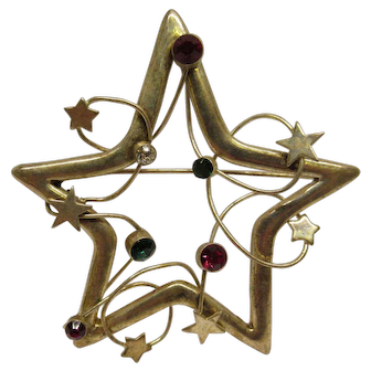 Vintage Abstract Modernist Silver Tone Decorated Christmas Star Pin Broach