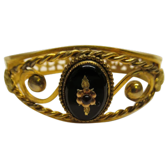 Antique Victorian Ornate Gold Filled Onyx Mourning Bangle Bracelet