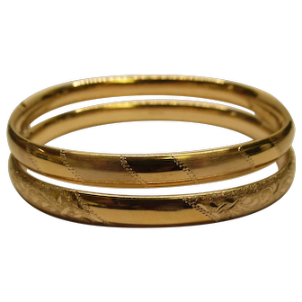 Vintage Pair of Gold Filled Bangles by Walter E Hayward