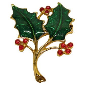 Vintage Signed BEATRIX Christmas Holly Pin Broach