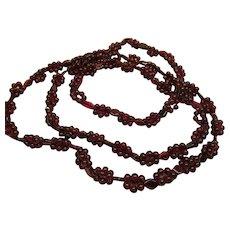 Antique Victorian Natural Garnet Polished Bead Necklace