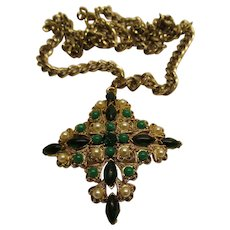 Vintage Signed Lisner Faux Pearl Green Cabochon Gold Tone Cross Pendant Necklace