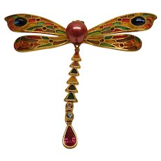 Vintage Signed Joan Rivers Jeweled Butterfly Pin Broach