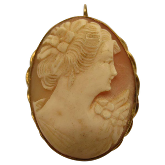 Antique Victorian Gold Filled Shell Cameo Pendant Pin Broach